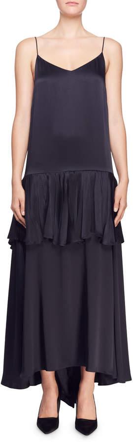 Stella McCartney Tiered Satin Spaghetti-Strap Gown