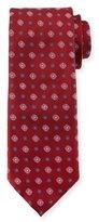 Canali Woven Foulard Silk Tie, Burgundy