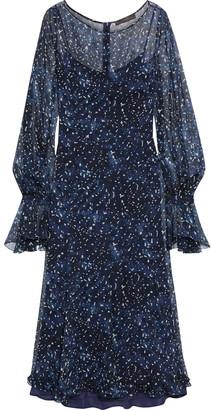 Max Mara Pavia Ruffle-trimmed Printed Silk-chiffon Midi Dress