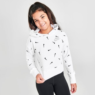 Nike Girls' Sportswear Swooshfetti Cropped French Terry Pullover Hoodie