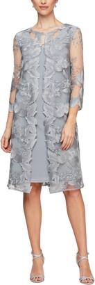 Alex Evenings Embroidered Mock Jacket Cocktail Dress