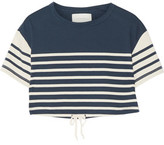 Solid and Striped Cropped Striped Cotton-Jersey Top