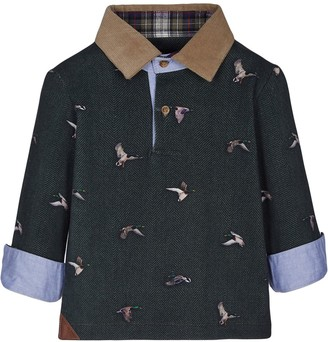 Lapin House Long-Sleeve Duck Print Polo Shirt