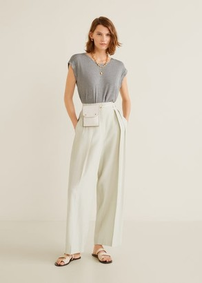MANGO Rolled-up sleeves T-shirt grey - XS - Women
