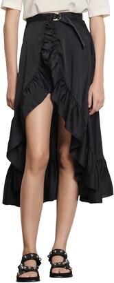 Sandro Ruffle Wrap Skirt