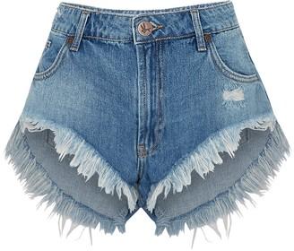 One Teaspoon Pacifica Rollers blue denim shorts