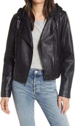 Levi's Fleece Hood Faux Leather Moto Jacket