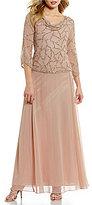J Kara Cowl Neck 3/4 Sleeve Beaded Bodice Chiffon Gown