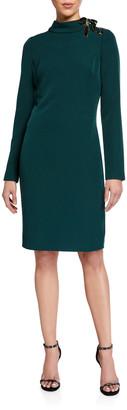 Badgley Mischka Mock-Neck Long-Sleeve Dress w/ Laced Ribbon Shoulder Detail