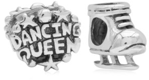 Rhona Sutton 4 Kids Children's Dancing Queen Skate Bead Charms - Set of 2 in Sterling Silver