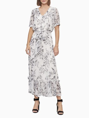Calvin Klein Floral V-Neck Short Sleeve Tie Waist Midi Dress