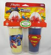Playtex Playtime Insulated Straw Cups, 2 Count DC Super Friends Batman and Superman by