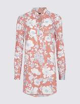 Marks and Spencer Pure Cotton Floral Print Longline Blouse