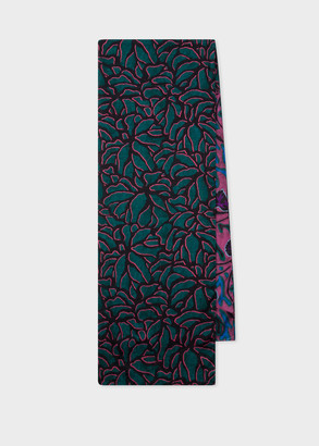 Paul Smith Teal And Damson 'Shadow Petals' Print Scarf