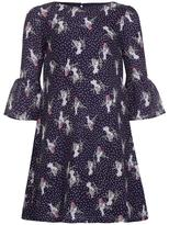 Yumi Bird Spot Print Dress Navy