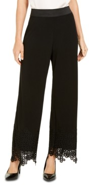 Alfani Pull-On Lace-Trim Palazzo Pants, Created for Macy's