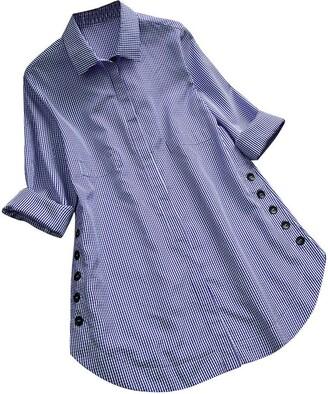 KaloryWee Clearance Autumn Blouses Women's Long Sleeve Lattice Button Casual Tops Shirt Loose Plus Size Blouse Blue
