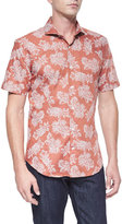 Bogosse Floral Paisley-Print Short-Sleeve Shirt, Orange/Black