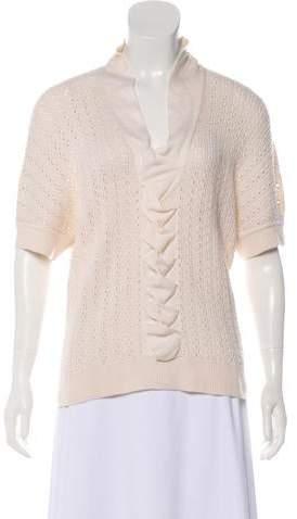 Oscar de la Renta Cashmere-Blend Crocheted Pullover