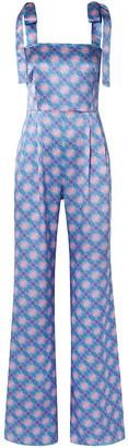 Seren London Fletcher Bow-detailed Floral-print Silk-satin Crepe Jumpsuit