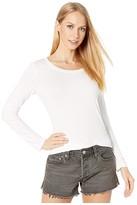 Michael Stars Lightweight Viscose Long Sleeve Crew Neck Tee (White) Women's Clothing