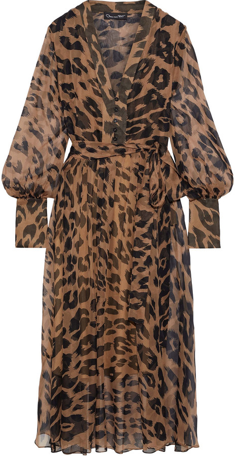 Oscar de la Renta Belted Pleated Leopard-print Silk-chiffon Midi Dress