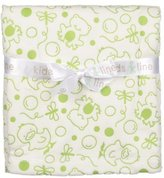Kids Line Frogs Chicks Embossed Velour Blanket by Sage Green on White by