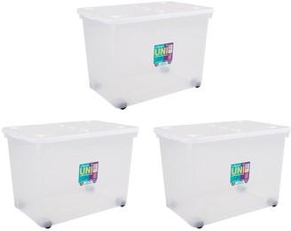 Wham Set of 3 80 Litre Wheeled Plastic Storage Boxes