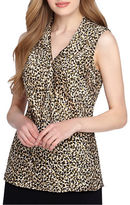 Tahari Arthur S. Levine Sleeveless Leopard Woven Top