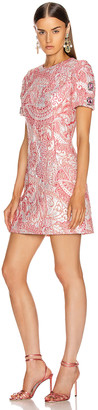 Dolce & Gabbana Short Sleeve Embellished Sleeve Dress in Pink & White | FWRD