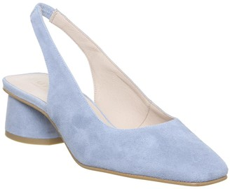 Office Manners Slingback Flared Court Heels Pale Blue Suede