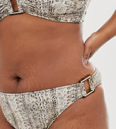 Figleaves Curve hipster bikini bottom with buckle detail in snake