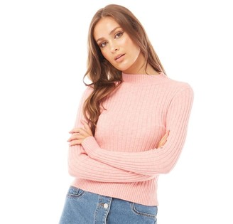 Brave Soul Womens Caina High Neck Ribbed Jumper Light Pink