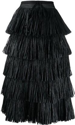 Sara Lanzi Tiered Fringe Maxi Skirt