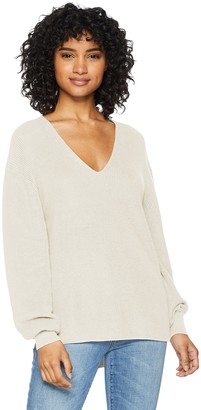 Ash Cable Stitch Women's Bishop Sleeve V-Neck Sweater Top Brown X-Small