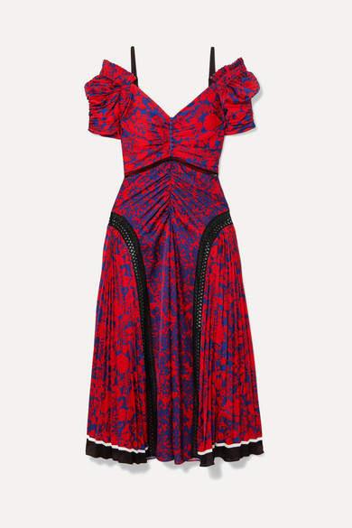 Self-Portrait Cold-shoulder Floral-print Satin Midi Dress - Red