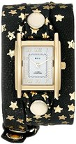 La Mer Women's LMSTWEX1201 Gold-Tone Watch with Foil-Printed Wraparound Leather Strap