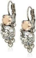 """Sorrelli Gold Vermeil"""" Ornate Crystal Rounds French Wire Drop Earrings"""