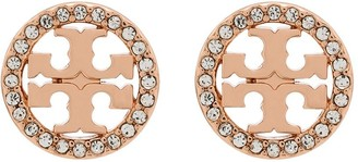 Tory Burch Miller logo crystal earrings