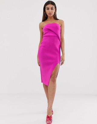 Asos DESIGN self stripe tucked bandeau midi dress