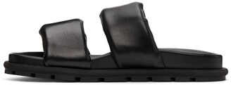 Dries Van Noten Black Leather Padded Sandals