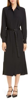 Rosetta Getty Crepe Long Sleeve Midi Shirtdress