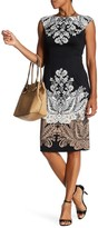 London Times Floral Print Ponte Sheath Dress