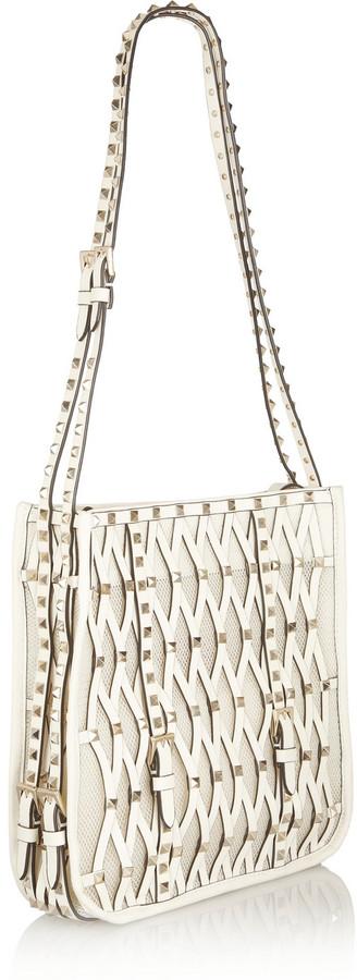 Valentino Rockstud leather and mesh shoulder bag