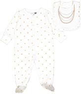 Vitamins Baby Ivory Polka Dot Footie & Bib - Infant
