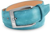 Pakerson Men's Sky Blue Hand Painted Italian Leather Belt