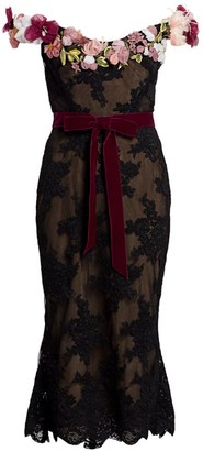 Marchesa Off-The-Shoulder Floral Applique Lace Cocktail Dress