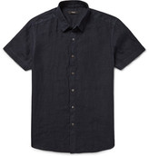 Theory Clark Garment-dyed Slub Linen Shirt - Midnight blue
