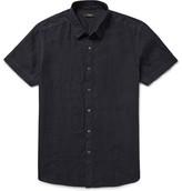 Theory Clark Garment-Dyed Slub Linen Shirt
