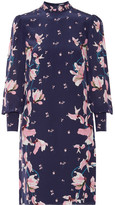 Erdem Mirela Floral-print Silk Crepe De Chine Dress - Navy